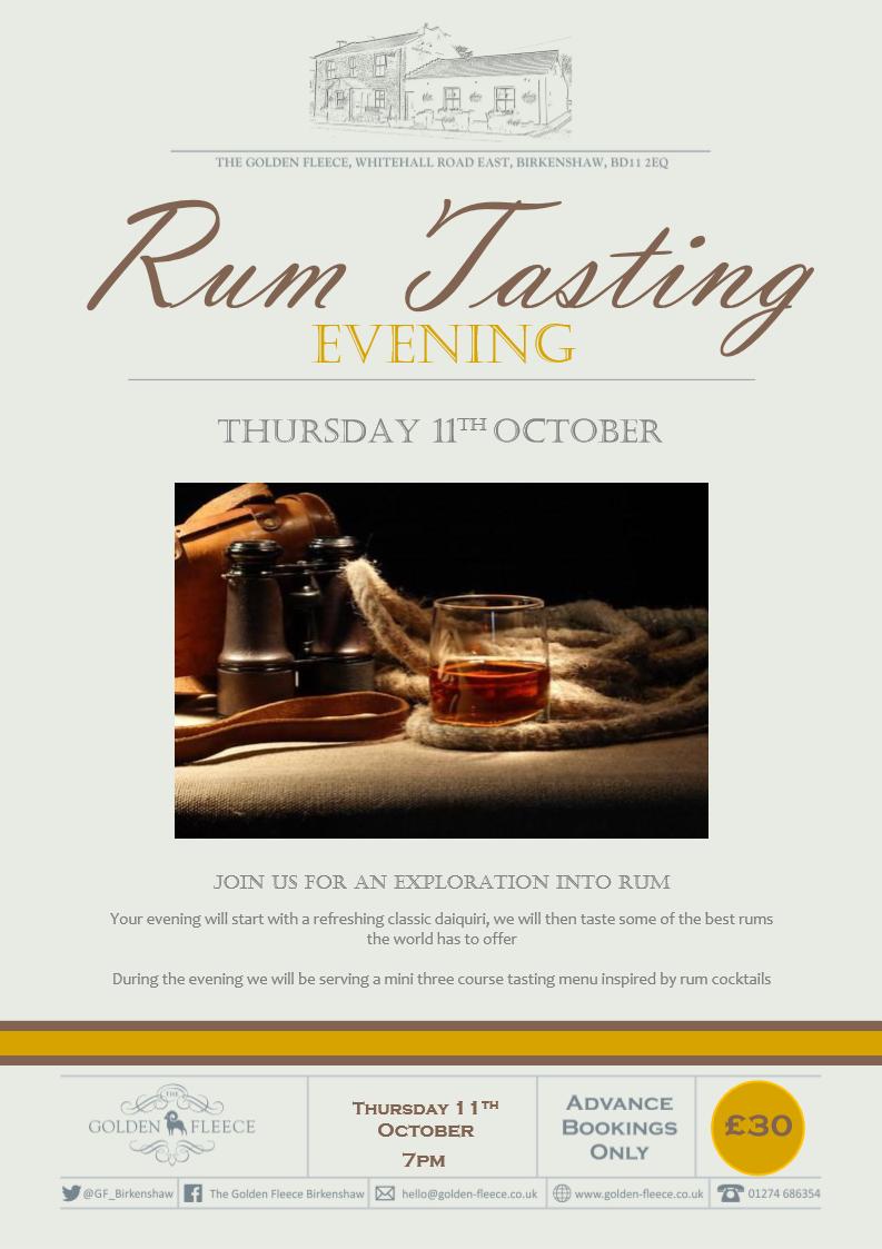 rum tasting evening