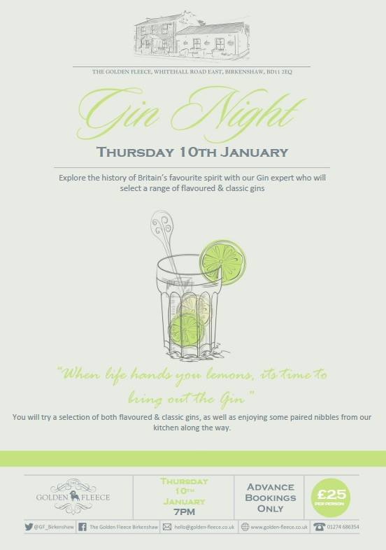 gin night thur 10 jan 2019