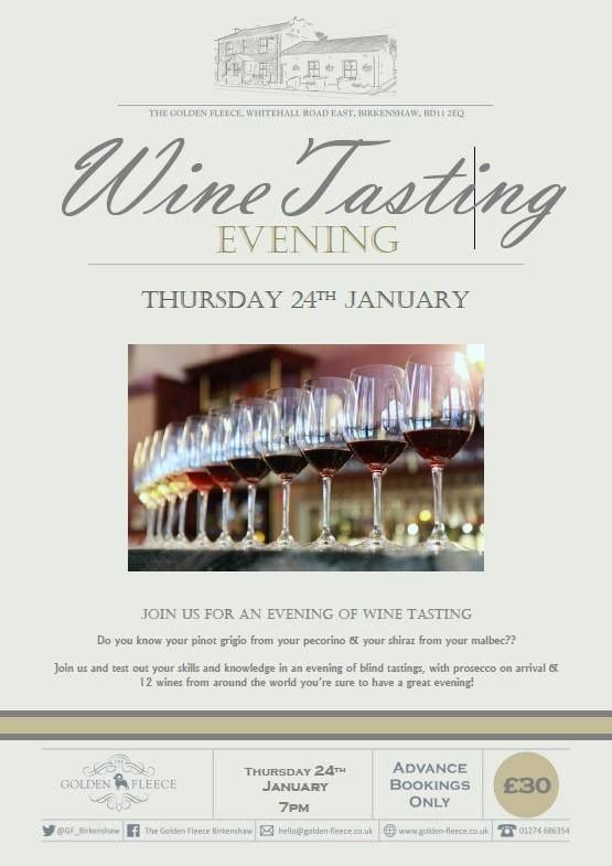 wine tasting evening thur 24th jan 2019